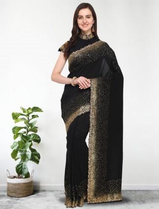 G3 Exclusvie black color cotton silk saree