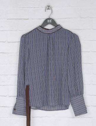 Georgette blue stripe pattern top