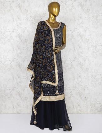Georgette fabric black punjabi palazzo suit