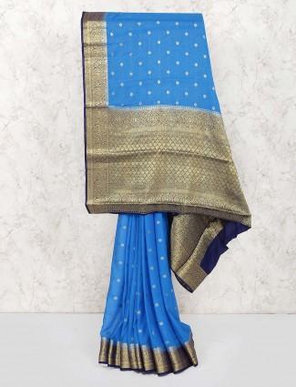 Georgette fabric blue color wedding saree