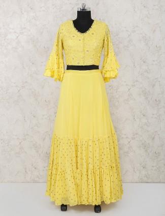 Georgette fabric bright yellow lehenga choli
