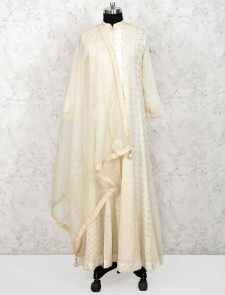 Georgette fabric cream color floor length anarkali salwar suit