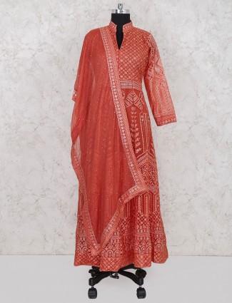 Georgette fabric orange hue wedding salwar suit