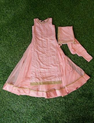Georgette fabric pink hue designer anarkali suit