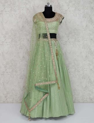 Georgette green wedding lehenga choli