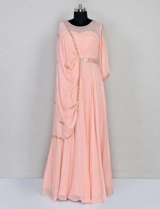 Georgette indo western salwar suit in peach