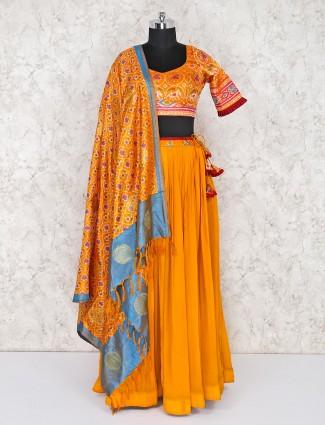 Georgette lehenga choli in orange