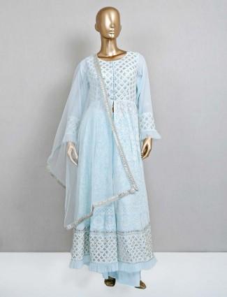 Georgette light blue designer palazzo salwar suit