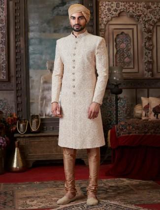Georgette light peach sherwani suit for groom