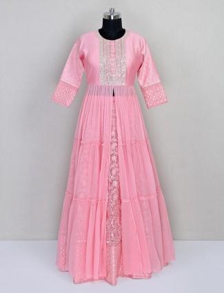 Georgette pink lehenga style salwar suit