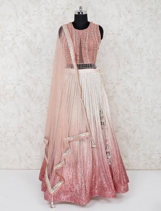 Georgette pink lehenga with matching choli