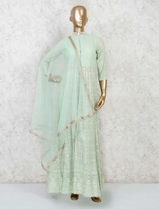 Georgette pista green designer pant suit
