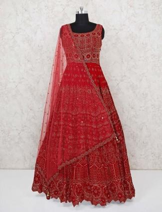 Georgette red wedding wear gown