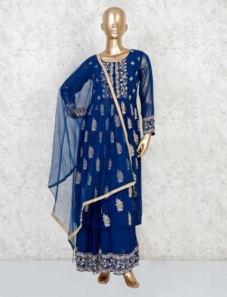 Georgette royal blue festive wear anarkali sharara suit