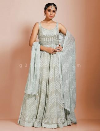Georgette sea green designer anarkali floor length salwar suit