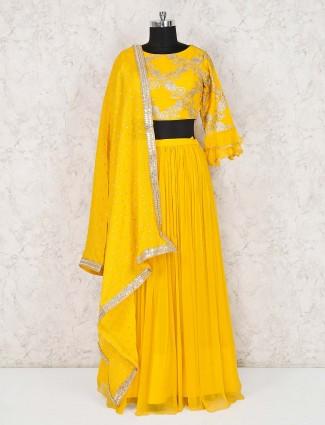 Georgette wedding wear yellow lehenga choli