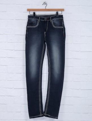 Gesture black solid slim fit jeans