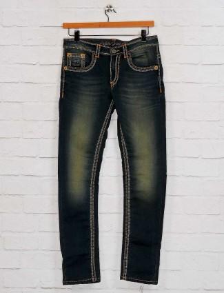 Gesture presented black slim fit solid jeans