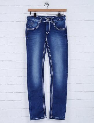 Gesture solid royal blue slim fit jeans