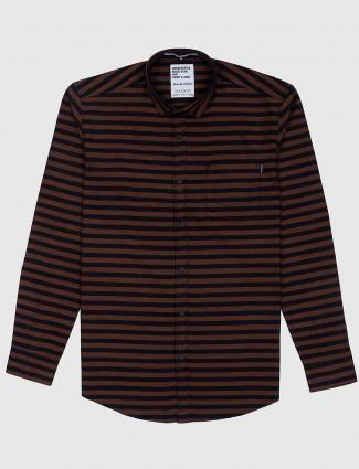 Gianti brown color stripe pattern shirt