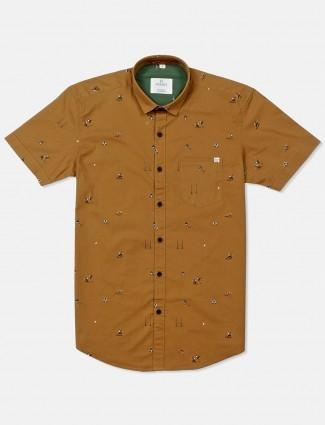 Gianti brown printed half sleeves shirt