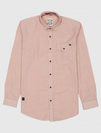 Gianti cream hue casual wear stripe shirt