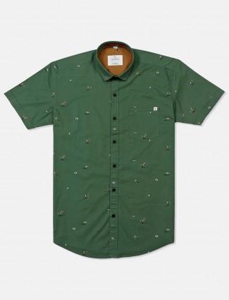 Gianti green cotton printed shirt