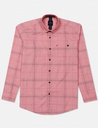Gianti pink checks patch pocket shirt