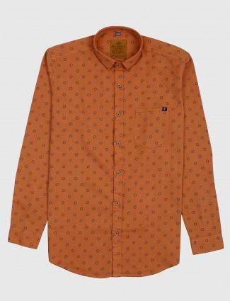 Gianti printed orange color casual shirt