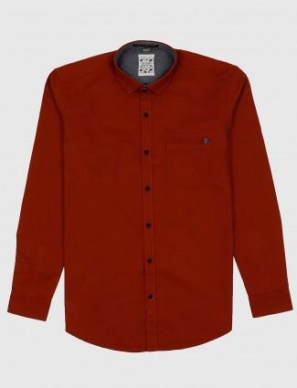 Gianti rust orange solid casual shirt
