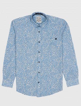 Gianti sky blue floral printed shirt