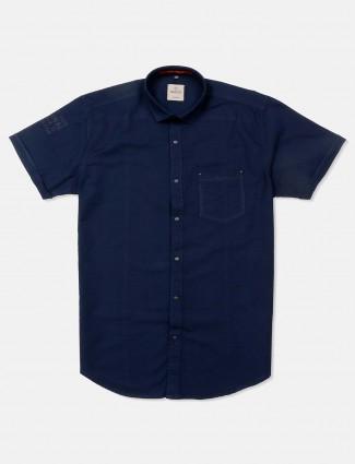 Gianti solid navy cotton shirt