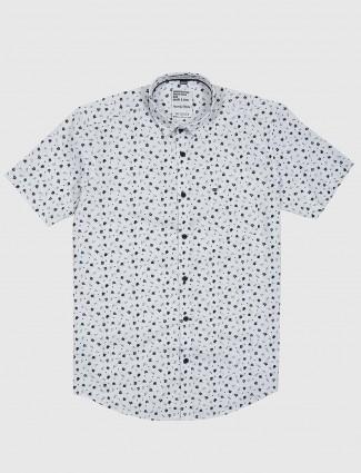 Gianti white printed half sleeves shirt