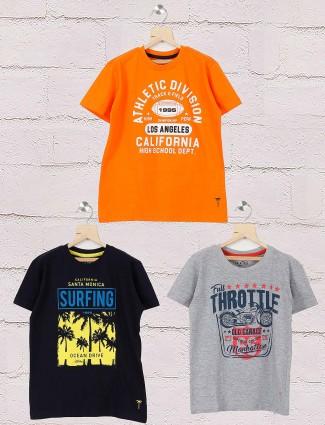 Gini and Jony black,grey,orange printed casual pack of 3 t-shirt