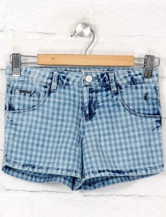 Gini and Jony checks blue hue shorts
