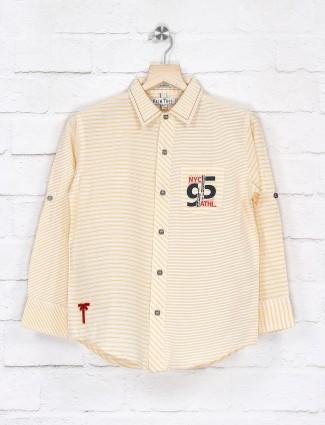 Gini and Jony cream and yellow stripe shirt