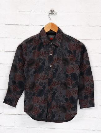 Gini and Jony dark grey leaf printed shirt