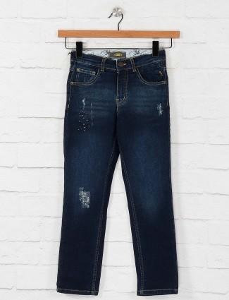 Gini and Jony dark navy ripped jeans
