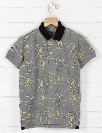 Gini and Jony grey printed polo t-shirt