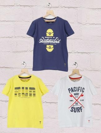 Gini and Jony navy,white and yellow printed pack of 3 t-shirt