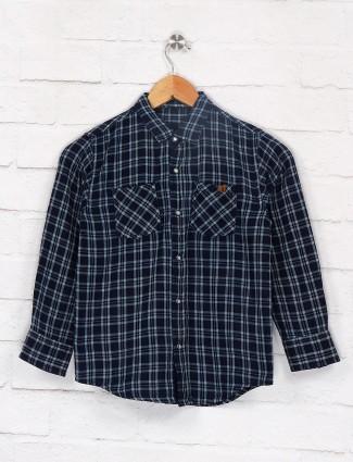 Gini and Jony navy checks pattern shirt