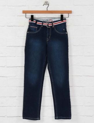 Gini and Jony navy hued solid jeans