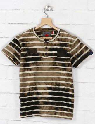 Gini and Jony olive stripe slim fit t-shirt
