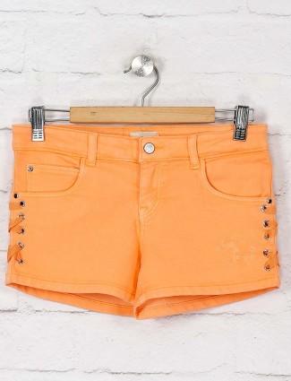 Gini and Jony orange hued solid shorts