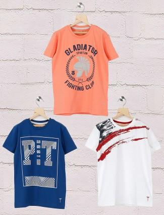 Gini and Jony peach,white and navy printed pack of 3 t-shirt
