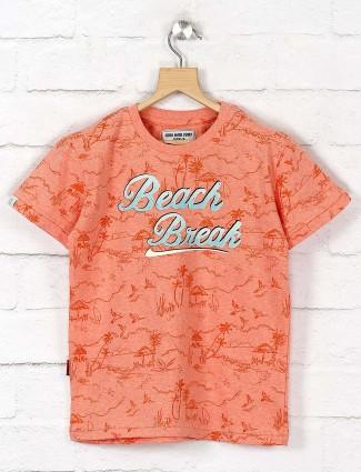 Gini and Jony presented peach printed t-shirt