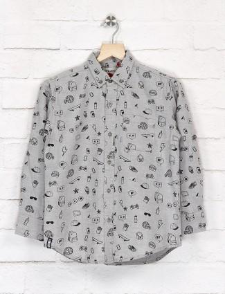Gini and Jony printed grey cotton shirt