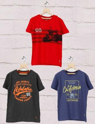 Gini and Jony red,navy and dark grey pack of 3 t-shirt
