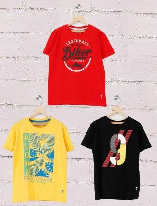 Gini and Jony red,yellow,black printed pack of 3 t-shirt