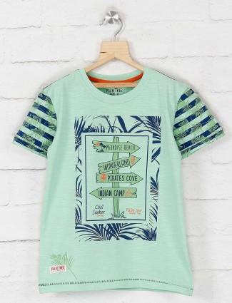 Gini and Jony sea green printed t-shirt